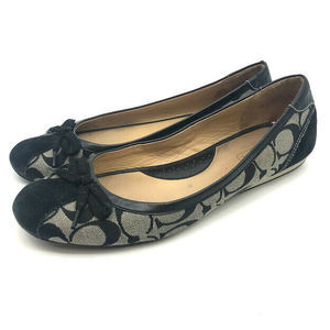 Coach Tillie Ballet Flat Shoes 9 Bow Accent Suede